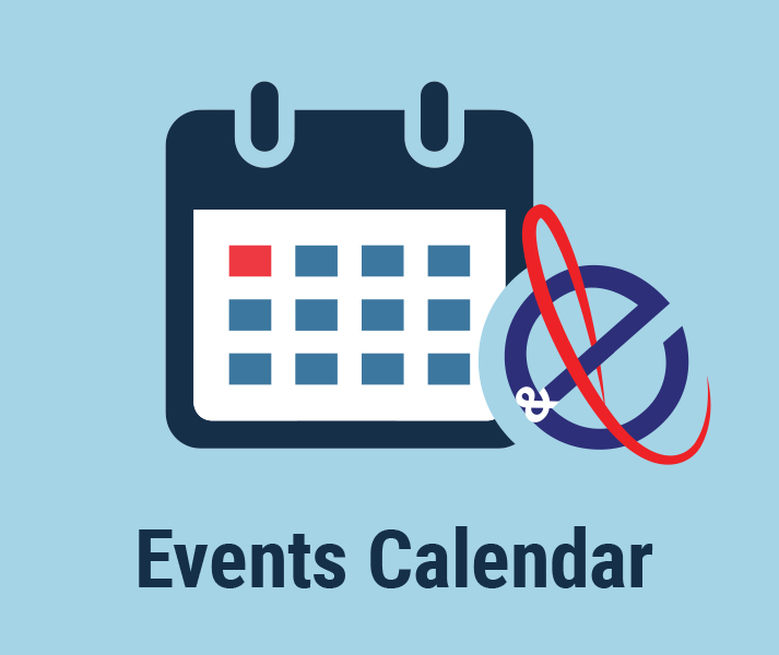 Events Calendar. Illustration of calendar with CEL logo.