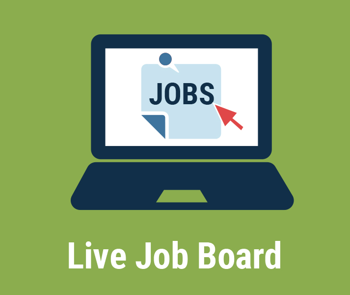 Live Job Board. Illustration of laptop with JOBS text on screen and red mouse arrow pointing to it.